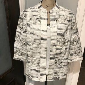 🌺Chico's open front jacket white/grey linen Sz 2